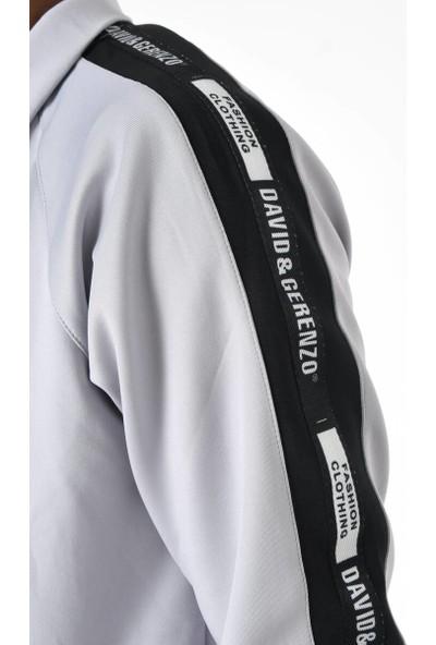 David&Gerenzo Gri Scuba Dalgıç Kumaş Kol Şerit Detaylı Eşofman Takımı