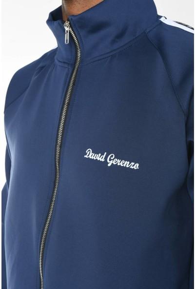 David&Gerenzo Lacivert Scuba Dalgıç Kumaş Kol Şerit Detaylı Eşofman Takımı
