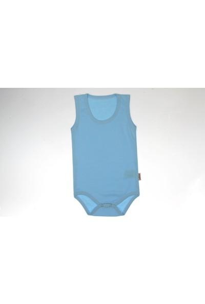 Vitmo Baby Çıt Çıtlı Askılı Mavi Düz Body 1 Yaş