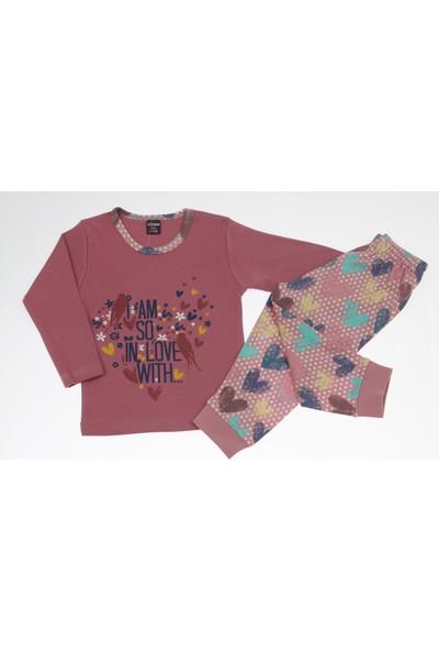 Vitmo Kids Uzun Kollu Love With Baskılı Gülkurusu Kız Çocuk Pijama Takımı