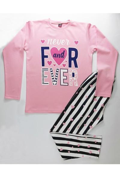 Vitmo Uzun Kollu Forever Baskılı Pembe Kız Çocuk Pijama Takımı