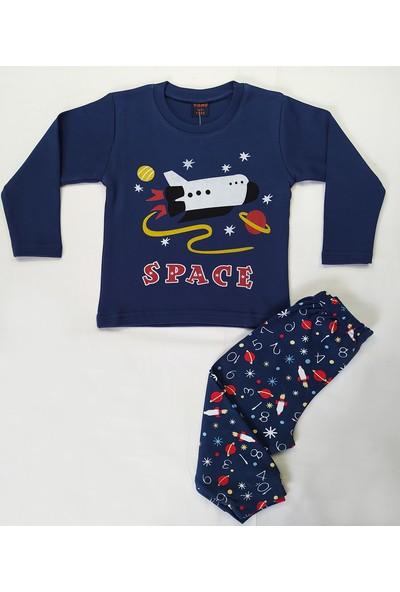 Vitmo Baby Uzun Kollu Füze Baskılı Lacivert Erkek Çocuk Pijama Takımı