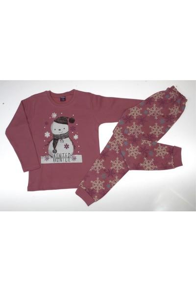 Vitmo Baby Uzun Kollu Winter Baskılı Gülkurusu Kız Çocuk Pijama Takımı