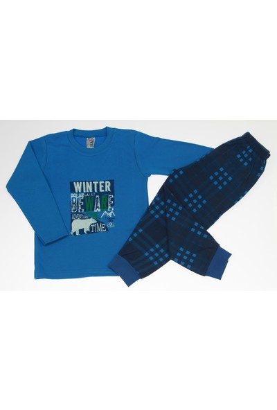 Vitmo Baby Uzun Kollu Winter Beware Baskılı Saks Mavi Erkek Çocuk Pijama Takımı