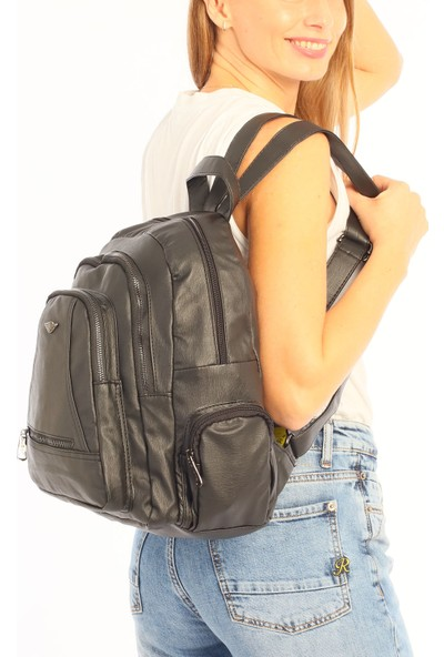 Çanta Stilim Siyah Renk Yıkama Deri Kadın Sırt Çantası