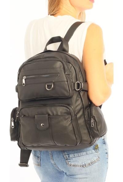 Çanta Stilim Siyah Renk Yıkama Deri Büyük Boy Kadın Sırt Çantası