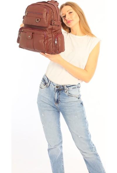 Çanta Stilim Bordo Renk Yıkama Deri Büyük Boy Kadın Sırt Çantası