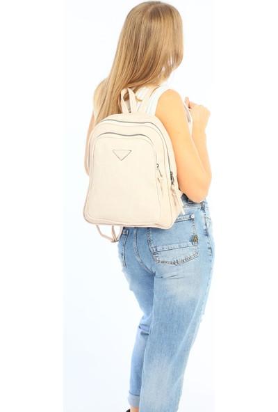 Çanta Stilim Krem Renk Nubuk Deri Kadın Sırt Çantası