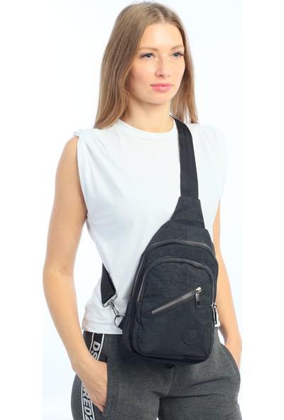 Çanta Stilim Siyah Renk Krinkıl Kumaş Kadın Bel Çantası