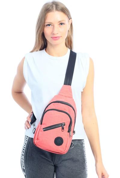 Çanta Stilim Gül Kurusu Krinkıl Kumaş Kadın Bel Çantası