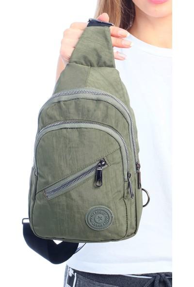 Çanta Stilim Haki Renk Krinkıl Kumaş Kadın Bel Çantası