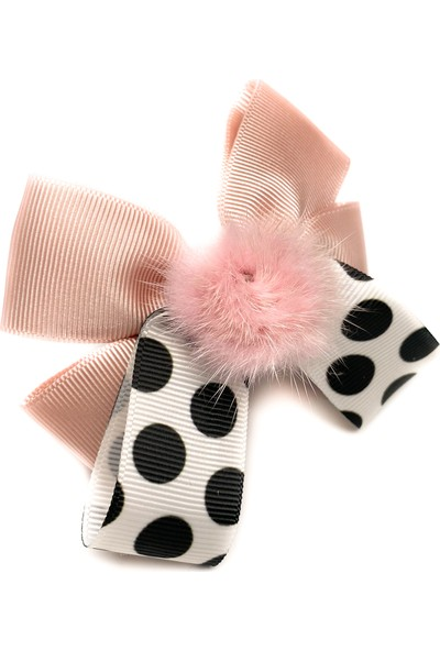 Love Some Ponponlu Pembe Fiyonk Saç Tokası / Pink Popy Arya