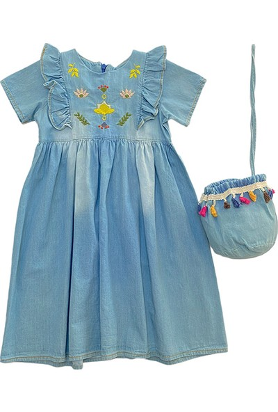 Pafim Robası Nakışlı Kot Elbise Mavi 5 Yaş