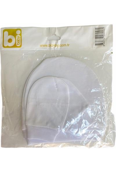 Bibaby Şapka Eldiven Takım Beyaz Yenidoğan