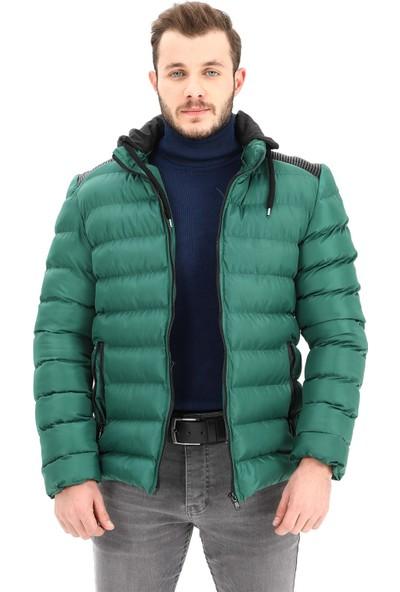 Modaplaza Erkek Kapüşonlu Yeşil Şişme Mont Kaban
