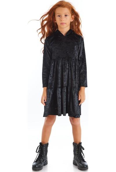Colorinas Velvet Hoody Elbise Siyah