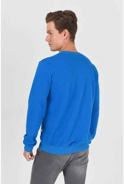Ucla Baldwin Mavi Bisiklet Yaka Baskılı Erkek Sweatshirt M