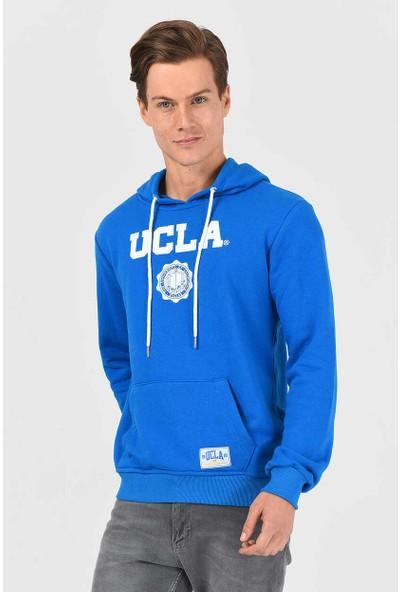 Ucla Phelan Mavi Kapüşonlu Baskılı Erkek Sweatshirt M