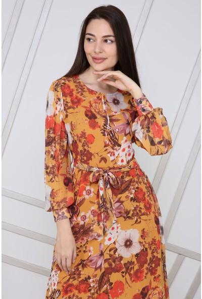 Prestij Fashion Kadın Emprime Şifon Bağlama Detaylı Çiçekli Elbise Hardal