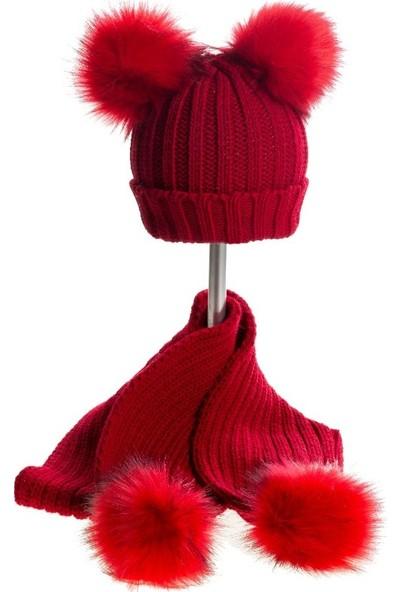 Baby Dora Çift Kırmızı Ponponlu Kırmızı Bere & Atkı Takım