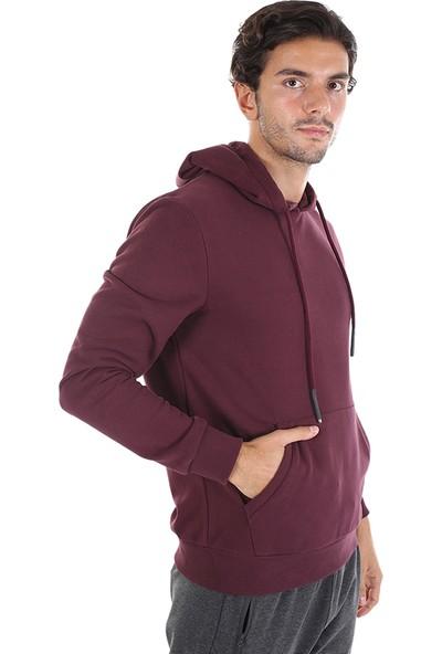 Diandor Slim Fit Kapüşonlu Erkek Sweat Vişne/Chrerry 2025113