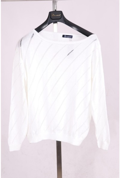Aclassics Geniş Yaka Tek Omuz Beyaz Örme Triko Bluz