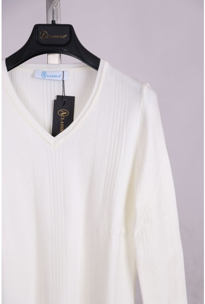 Aclassics Beyaz V Yaka Yumuşak Dokulu Örme Triko Bluz