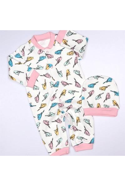 Necix Necix Kuş Baskılı Şapkalı Kız Bebek Tulum