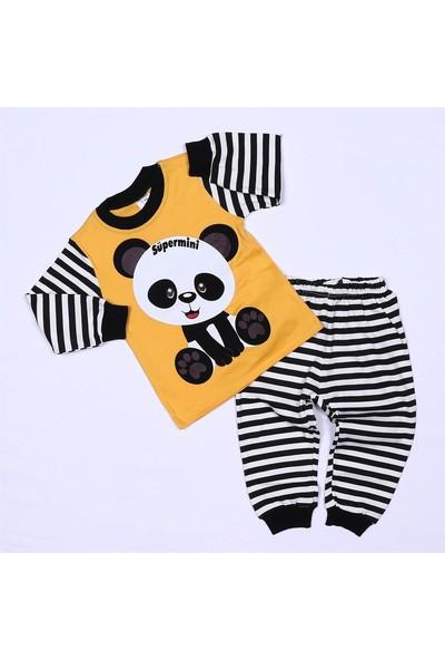 Süpermini Panda Baskı Sarı Ikili Takım