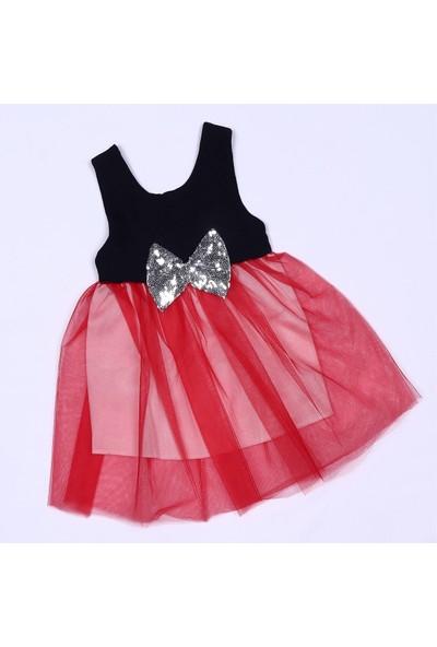 Pullu Fiyonk Tüllü Kırmızı Kız Bebek Elbise