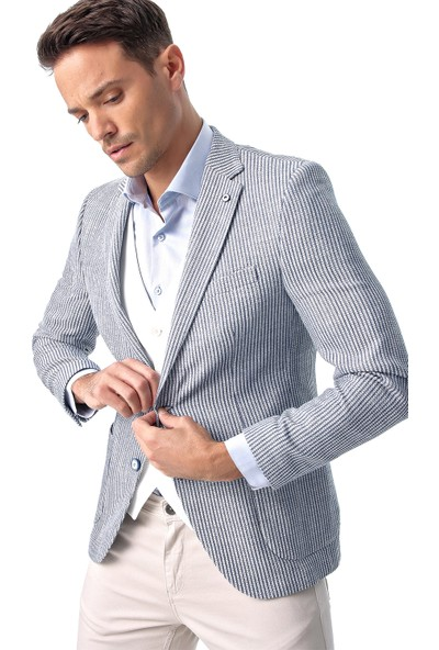 Morven Lisburn Slimfit Ceket Buz Mavisi