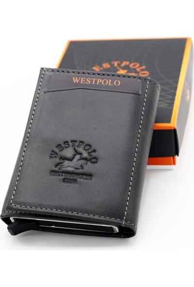 Polo W Club West Polo Crazy Deri Mekanizmalı Para Gözlü Siyah Erkek Cüzdan Kartlık W22045551