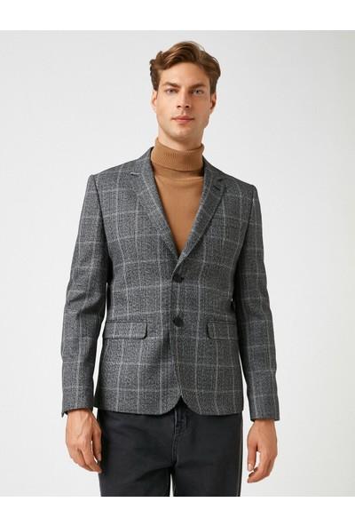 Koton Erkek Cepli Kareli Rozet Yaka Blazer Ceket