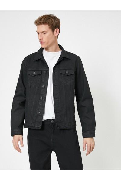 Koton Erkek Cep Detaylı Dügmeli Pamuk Jean Ceket