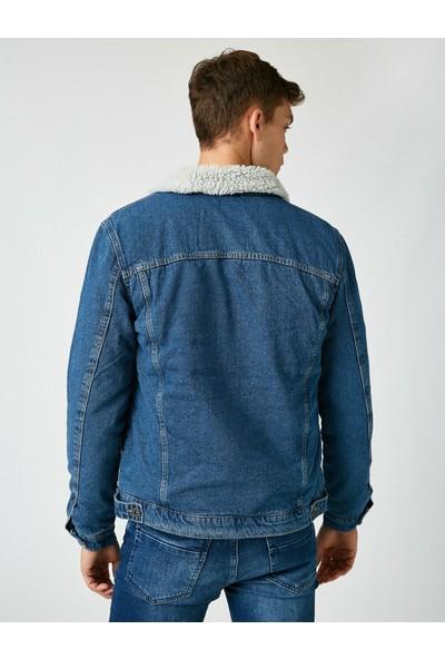 Koton Erkek Yakasi Suni Kürklü Pamuk Jean Ceket
