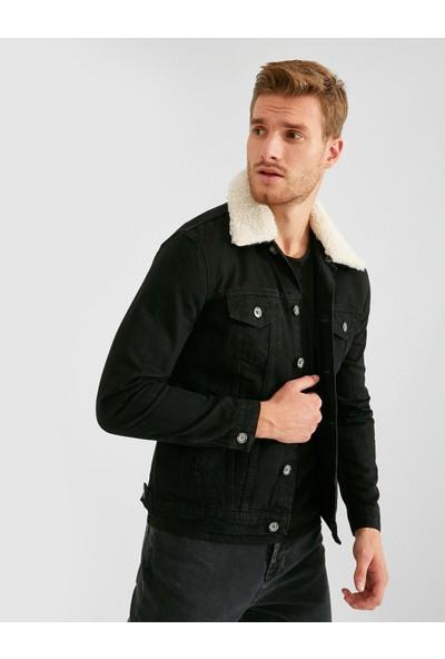 Koton Erkek Pamuk Suni Kürk Yaka Detaylı Kot Ceket