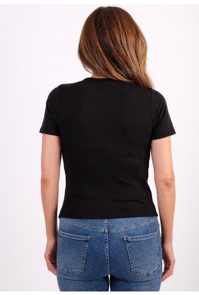 Zara Siyah Fitilli Göğüs Kısmı Halka Detaylı Crop