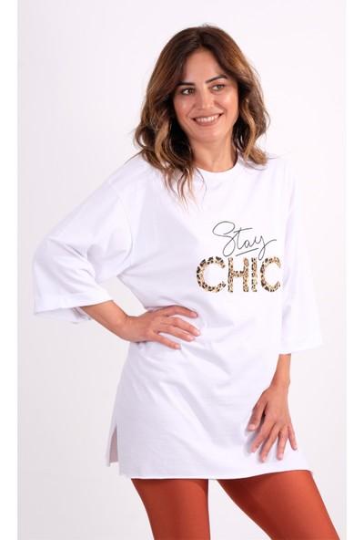 Crep Duble Kol Yırtmaçlı Baskı ve Zincir Detaylı T-Shirt