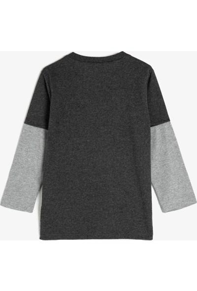 Koton Erkek Çocuk Bisiklet Yaka Uzun Kollu Baskılı T-Shirt