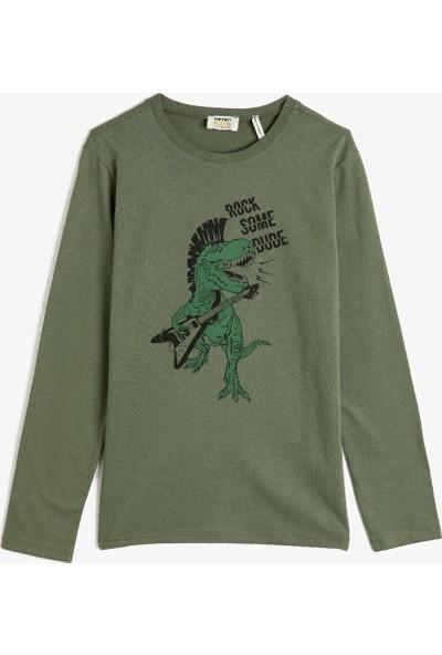 Koton Erkek Çocuk Pamuklu Uzun Kollu Baskılı Bisiklet Yaka T-Shirt