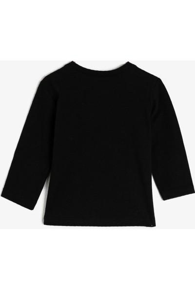 Koton Erkek Çocuk Pamuklu Baskılı Bisiklet Yaka Uzun Kollu T-Shirt