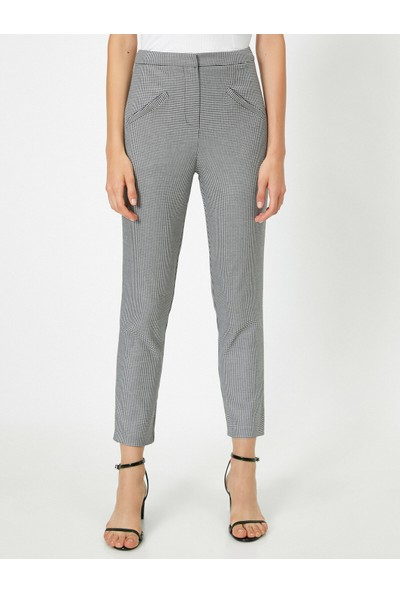 Koton Kadın Flare Fit Ekoseli Normal Bel Pantolon