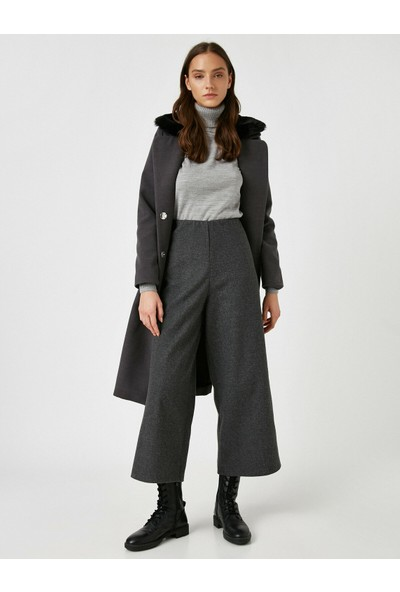 Koton Kadın Düz Renk Genis Paça Crop Pantolon