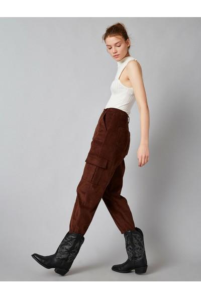 Koton Kadın Yüksek Bel Cepli Fitilli Kadife Pantolon