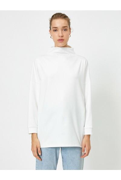 Koton Kadın Balikçi Yaka Scuba Sweatshirt