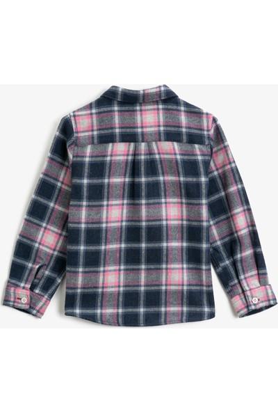Koton Kız Çocuk Cepli Ekoseli Uzun Kollu Klasik Yaka Gömlek