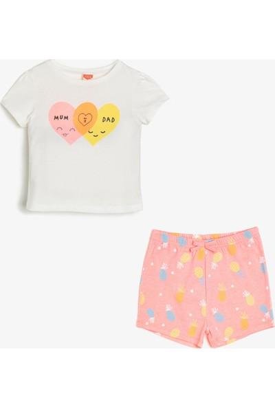 Koton Kız Çocuk Yazili Baskılı T-Shirt Seti