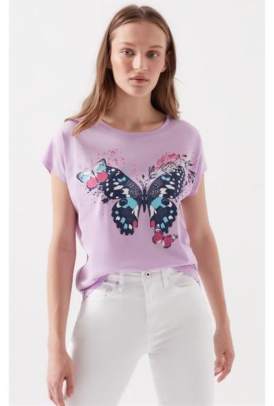 Kelebek Baskılı Lila Tişört 168781-31532