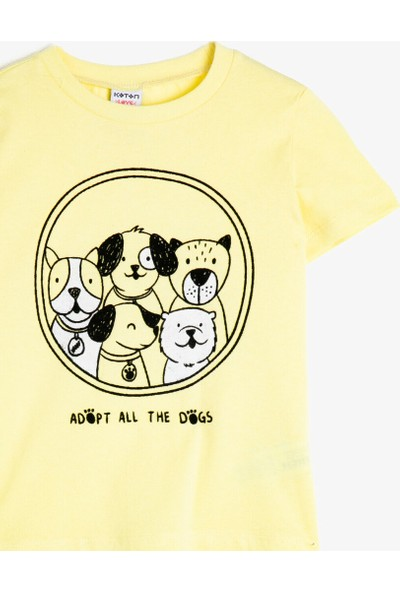 Koton Erkek Çocuk Bisiklet Yaka Yazılı Baskılı Kısa Kollu T-Shirt