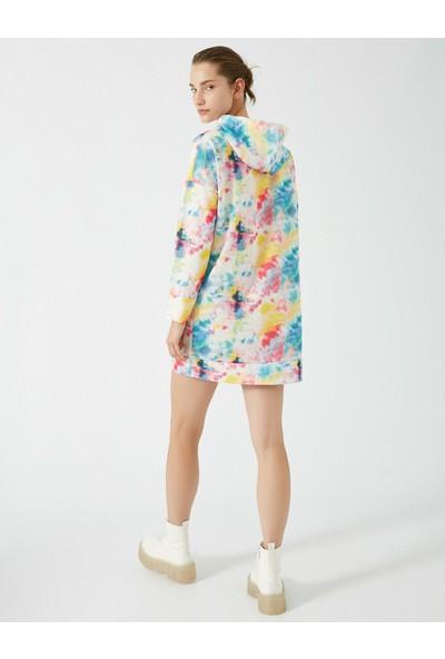 Koton Kadın Bisiklet Yaka Batik Desenli Sweatshirt